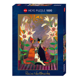 Heye Puzzle 1000mcx, Lilies, Watchmeister, Cats - Chats