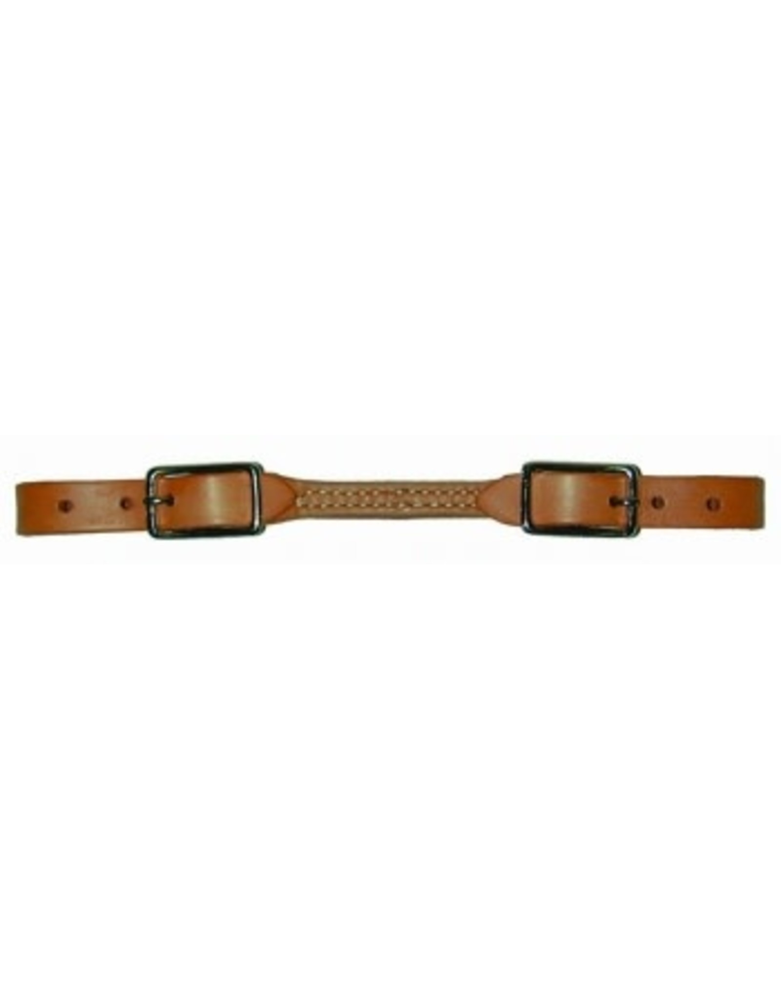 15-346 Curb Strap Leather 2 Buckle Sewn