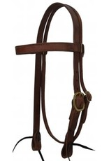 """CSTB100 Headstall, 1"""" Harness Leather Browband Brass Hardware"""