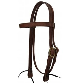"CSTB100 Headstall, 1"" Harness Leather Browband Brass Hardware"