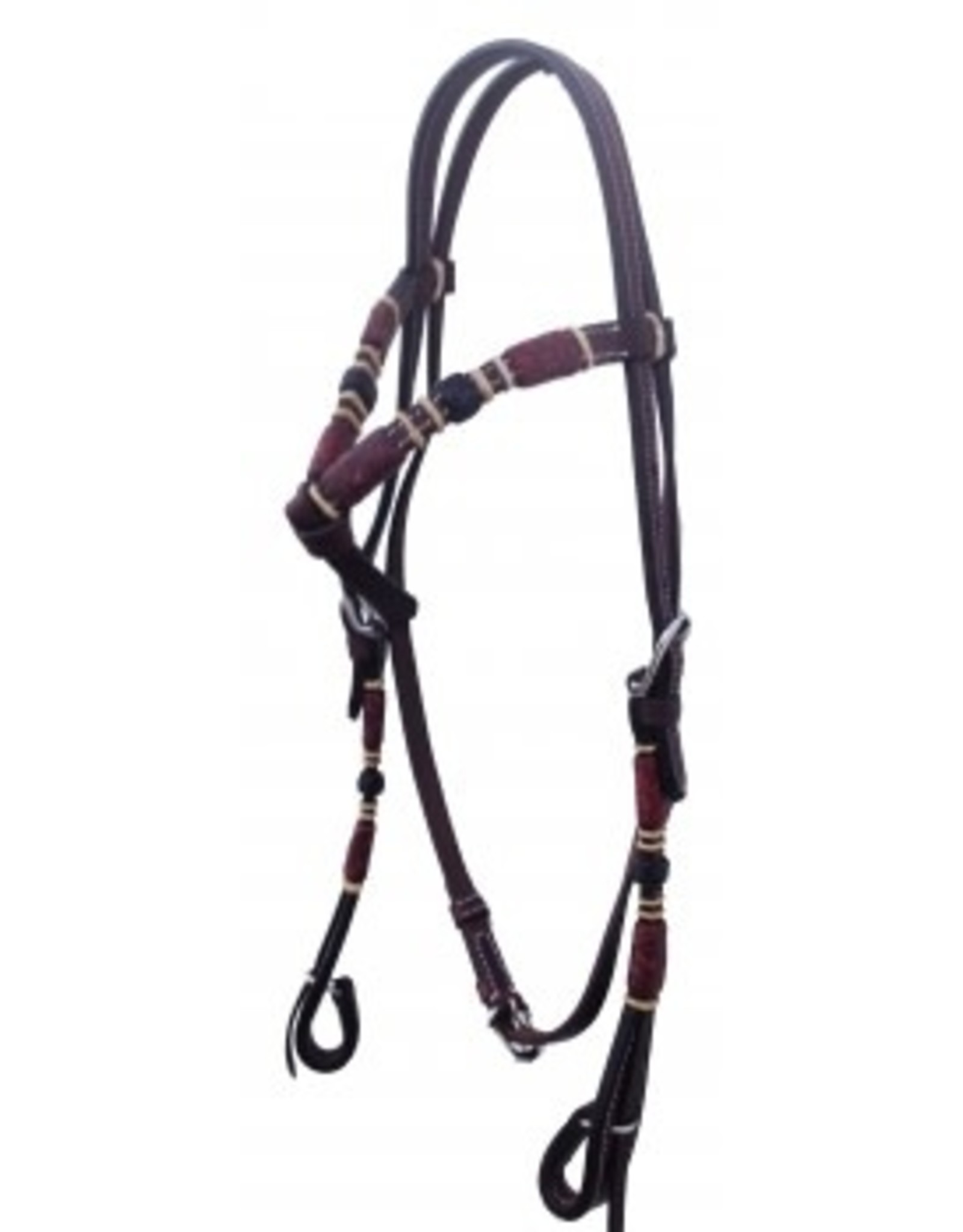 2101DK Headstall, Knotted Browband Rawhide Braid