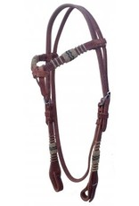 3158 Headstall, Browband Rawhide Quick Change Cheeks