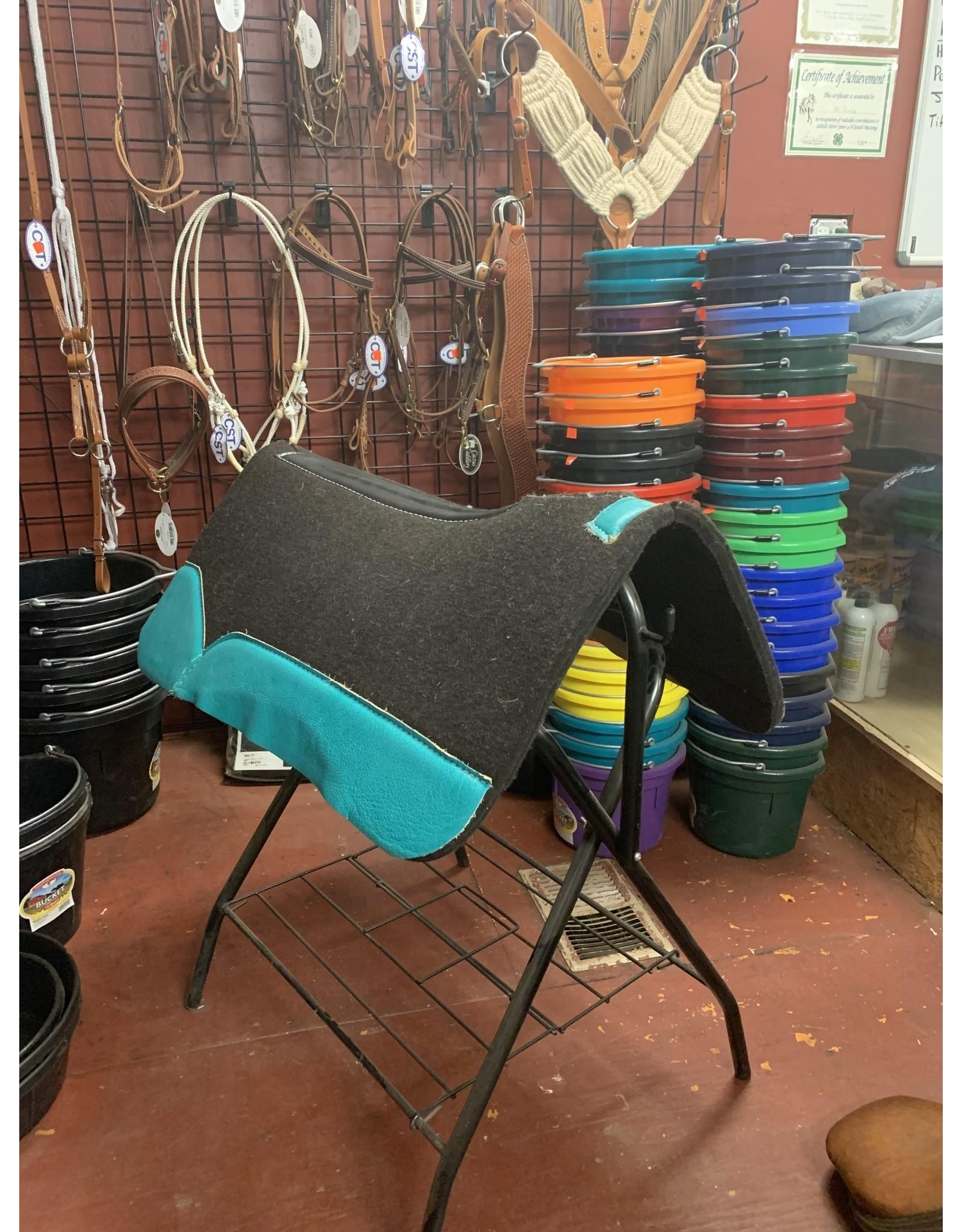 """Best Ever Saddle Pads Best Ever OG Black 3/4"""" Turquoise 30x30"""