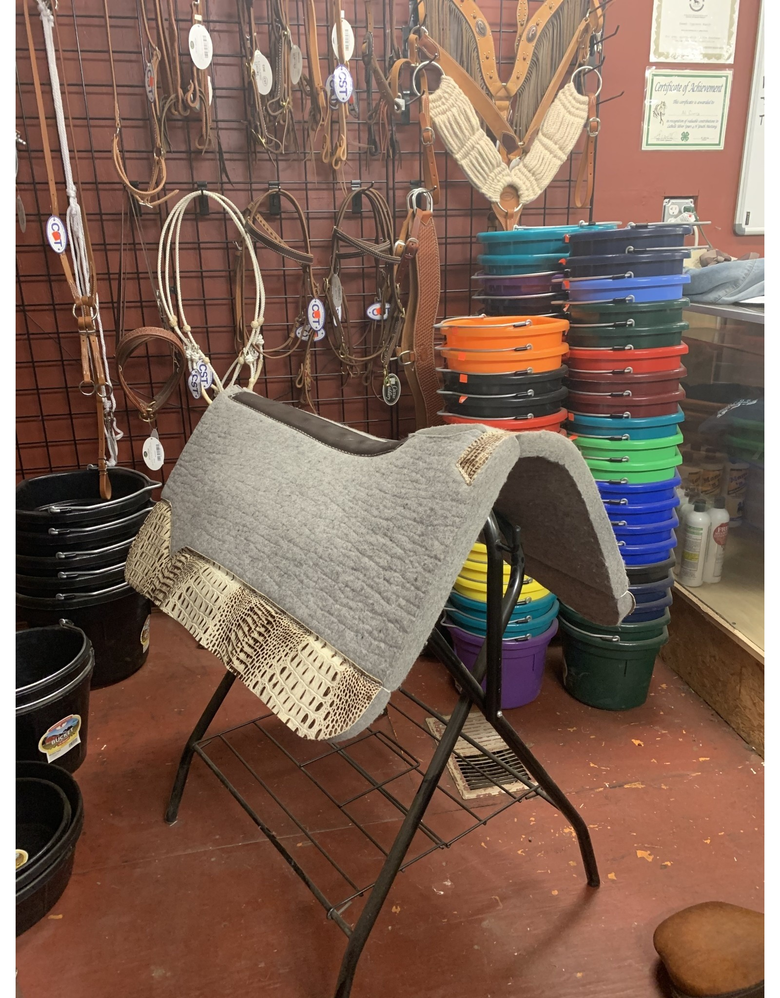 """Best Ever Saddle Pads Best Ever Gray Kush 1""""  32x32"""