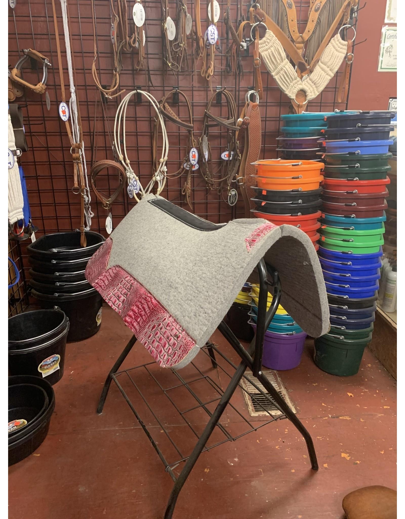 "Best Ever Saddle Pads Best Ever Gray Kush 3/4"" Flamingo Croc 30x30"