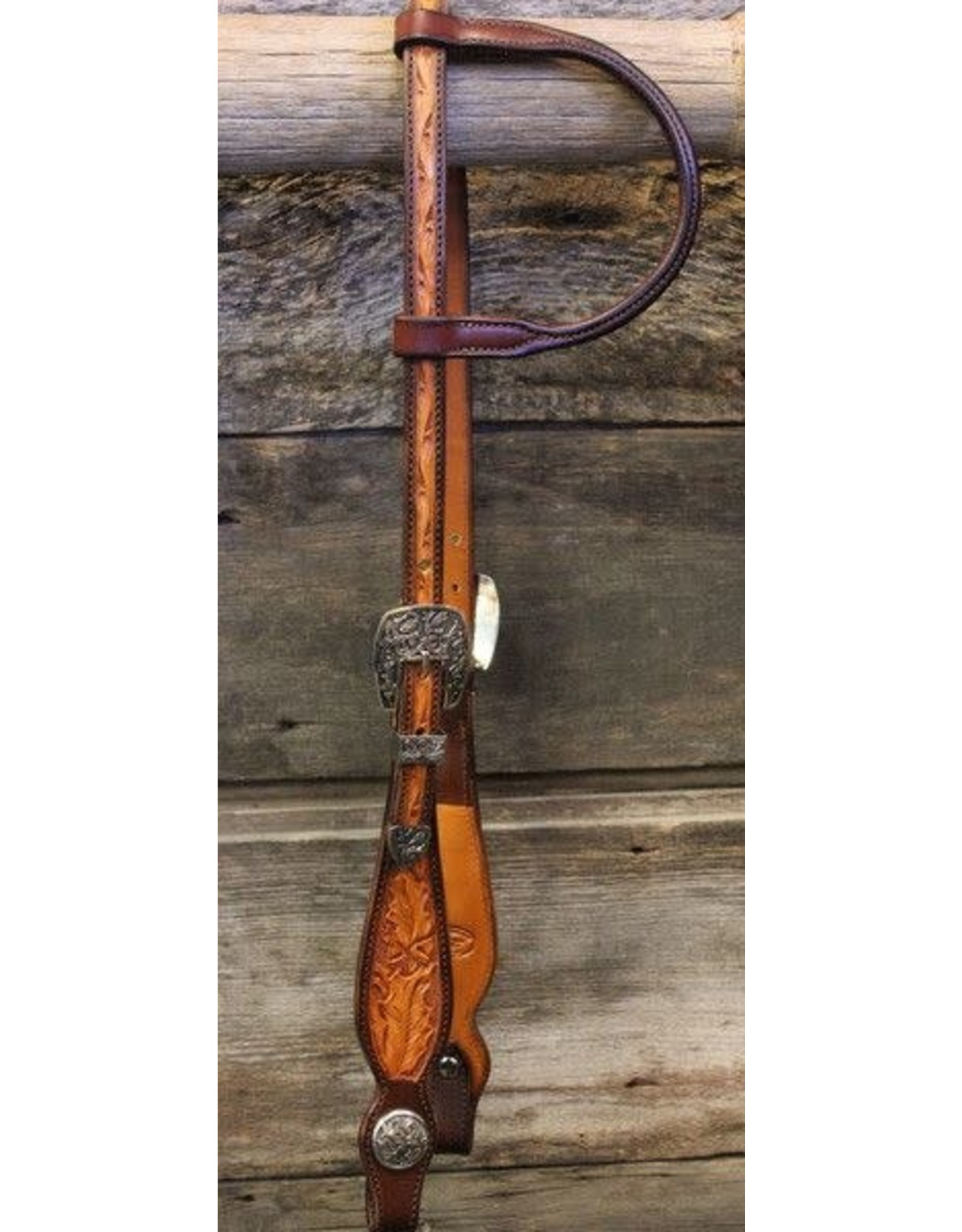 40114A  Tooled Acorn Oak Slip Ear Headstall