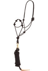 8004D Rope Halter, Poly, Knots Over Nose, 12' Horsemanship Lead