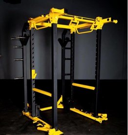racks \u0026 rigs fray fitnessfhd3 power rack yellow and black with dual landmines