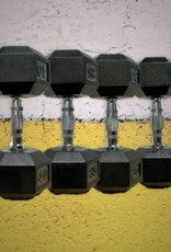 Black Hex Rubber Coated Dumbbells - 55 lb