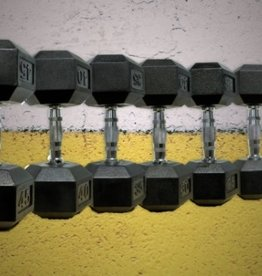 Black Hex Rubber Coated Dumbbells - 65 lb