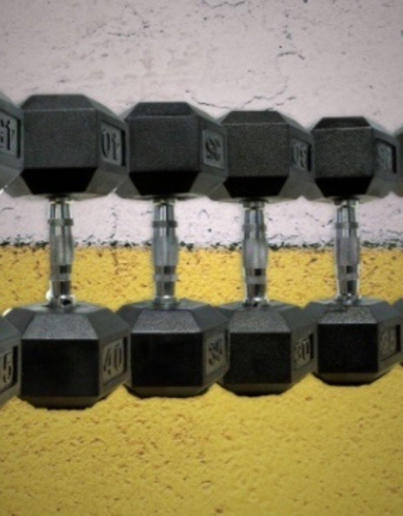 Black Hex Rubber Coated Dumbbell - 65 lb