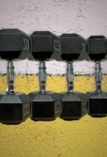 Black Hex Rubber Coated Dumbbell - 90 lb