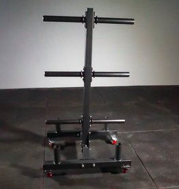 Olympic Plate And Bumper Weight Tree (On Wheels) With 4 Bar Holder