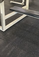 Rubber Mat 3 1/3 x 3 1/3 x 2/3'' Black With White Color Specks