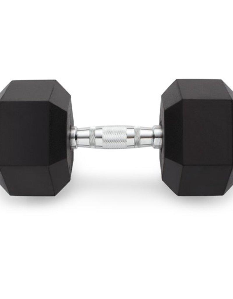 Black Hex Rubber Coated Dumbbells - 105 lb