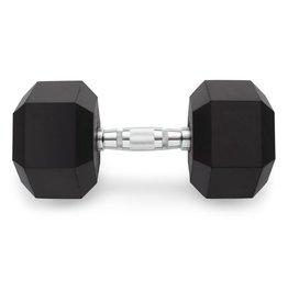 Black Rubber Hex Coated Dumbbells - 110 lb
