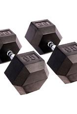 Black Hex Rubber Coated Dumbbell - 95 lb