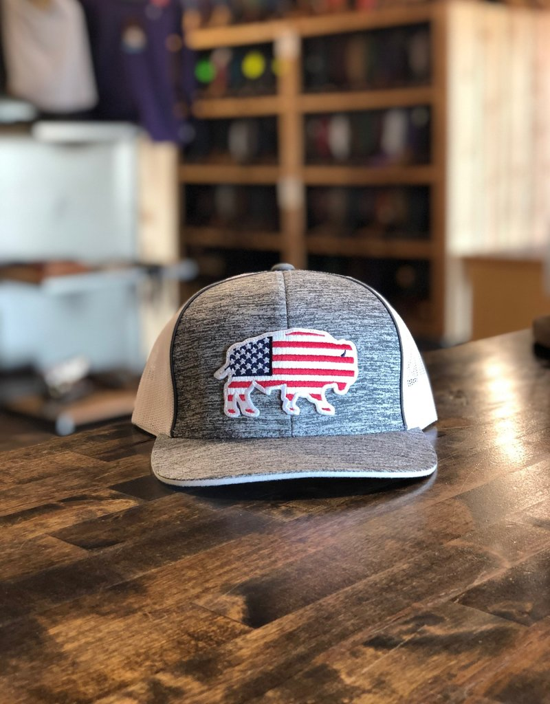 Red Dirt Hat Co. Red Dirt Hat Co. USA Buffalo Cap Grey/White OS