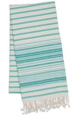 Design Imports DII Aqua Mint Stripe Fouta Throw