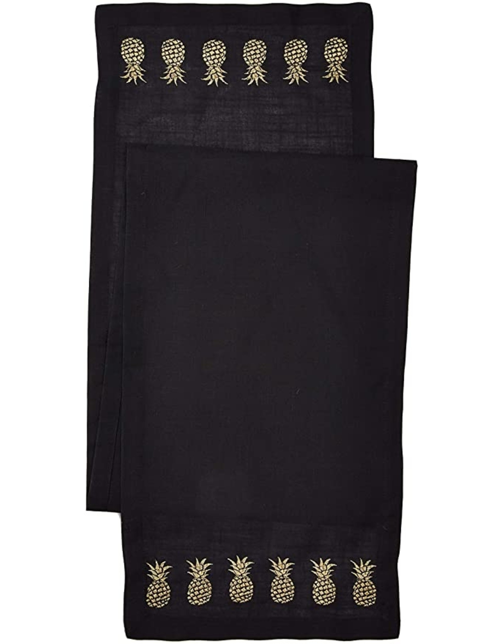 Design Imports DI Black/Gold Pineapple Embroidered Table Runner
