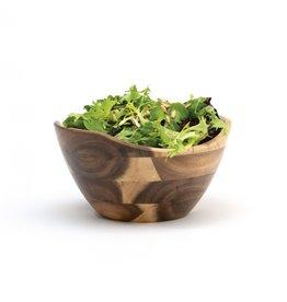 Lipper LIPPER-Acacia Natural Finish Wavy Rim Bowls (Small)