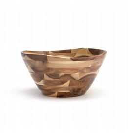 Lipper LIPPER-Acacia Natural Finish Wavy Rim Bowls (Large)