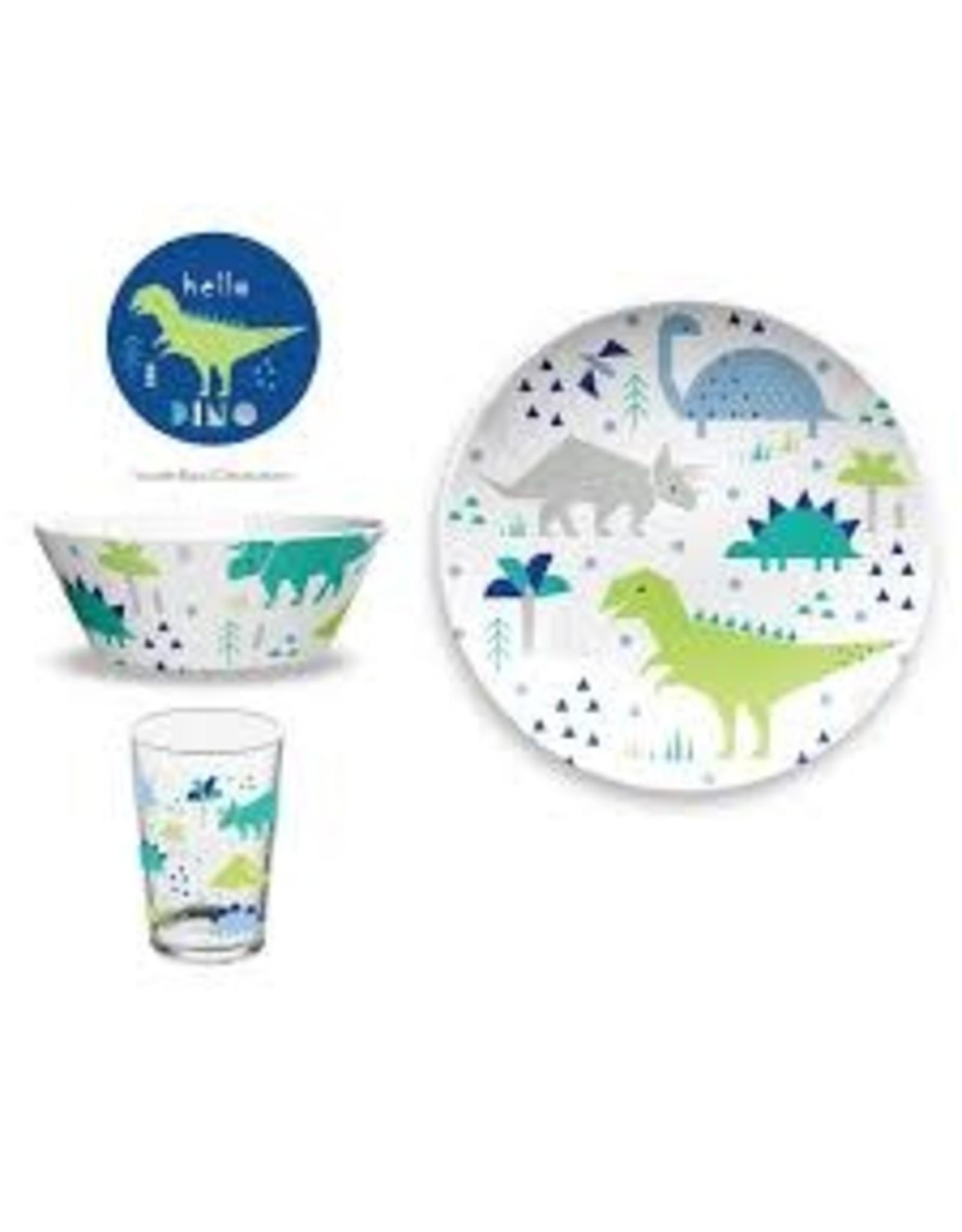 "TarHong TarHong- Hello Dino Kids Set, 8.5"" Plate, 6.3"" x 2.4""/ 36 oz. Bowl, 10.7 oz. Cup"