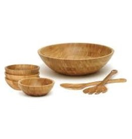 Lipper LIPPER-Bamboo Salad Bowl, Large with Servers & Set of 4 Small Bowls