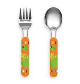 """TarHong TarHong- Kids Dinosaur Flatware Set, Fork & Spoon, Ss/Abs, 5.4"""""""