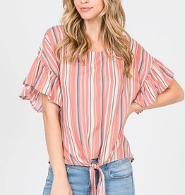 Striped Printed Woven Front Tie Top