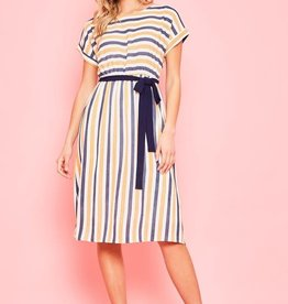 Striped dolman sleeve midi dress