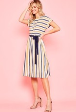 Striped dolman sleeve midi dress