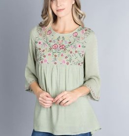 Floral Embroidery 3/4 sleeve top