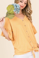 Ruffle Sleeve Polka dot tie top