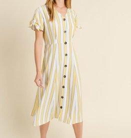 Striped Dress w/buttons & tie sleeve