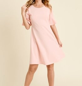 Solid Bell Sleeve Dress