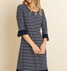 Striped Bell Sleeve  Ruffle  Dress