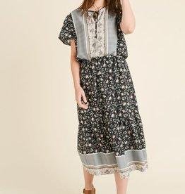 Midi Floral Tribal Print Dress