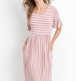 Striped Half Sleeve w/ Pocket Dress