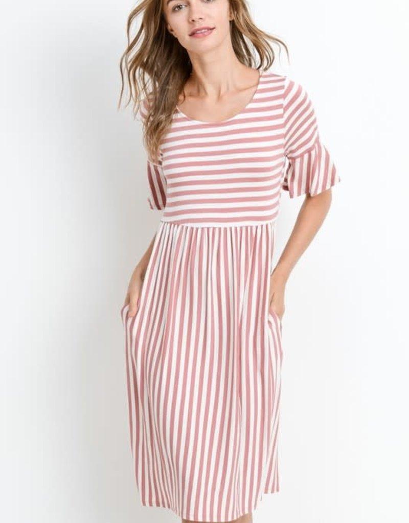 Striped Half Sleeve w/ Pocket Dress
