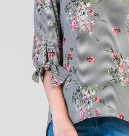 Floral Stripe 3/4 length tie sleeve
