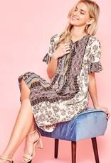 Short sleeve midi dress with ruffled sleeves