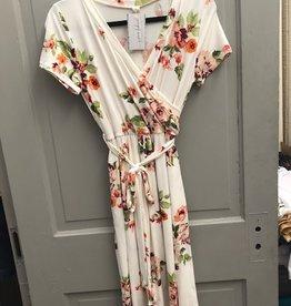Short Sleeve floral wrap tie dress