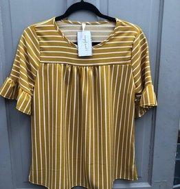 Ruffle Sleeve Stripe Top