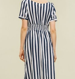 SQUARE BOAT NECK SMOCK WAIST BUTTON DOWN DRESS