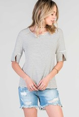 Stripe Print Short Sleeve Slit Detail Top