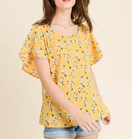Floral Flutter Sleeve Top