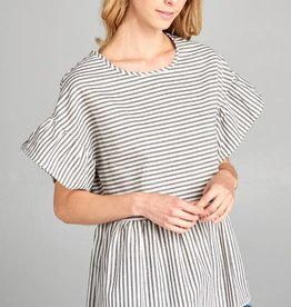 Striped Top w/ Sleeve Flounces