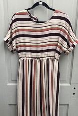 Striped Cuff Sleeve Pocket Dress