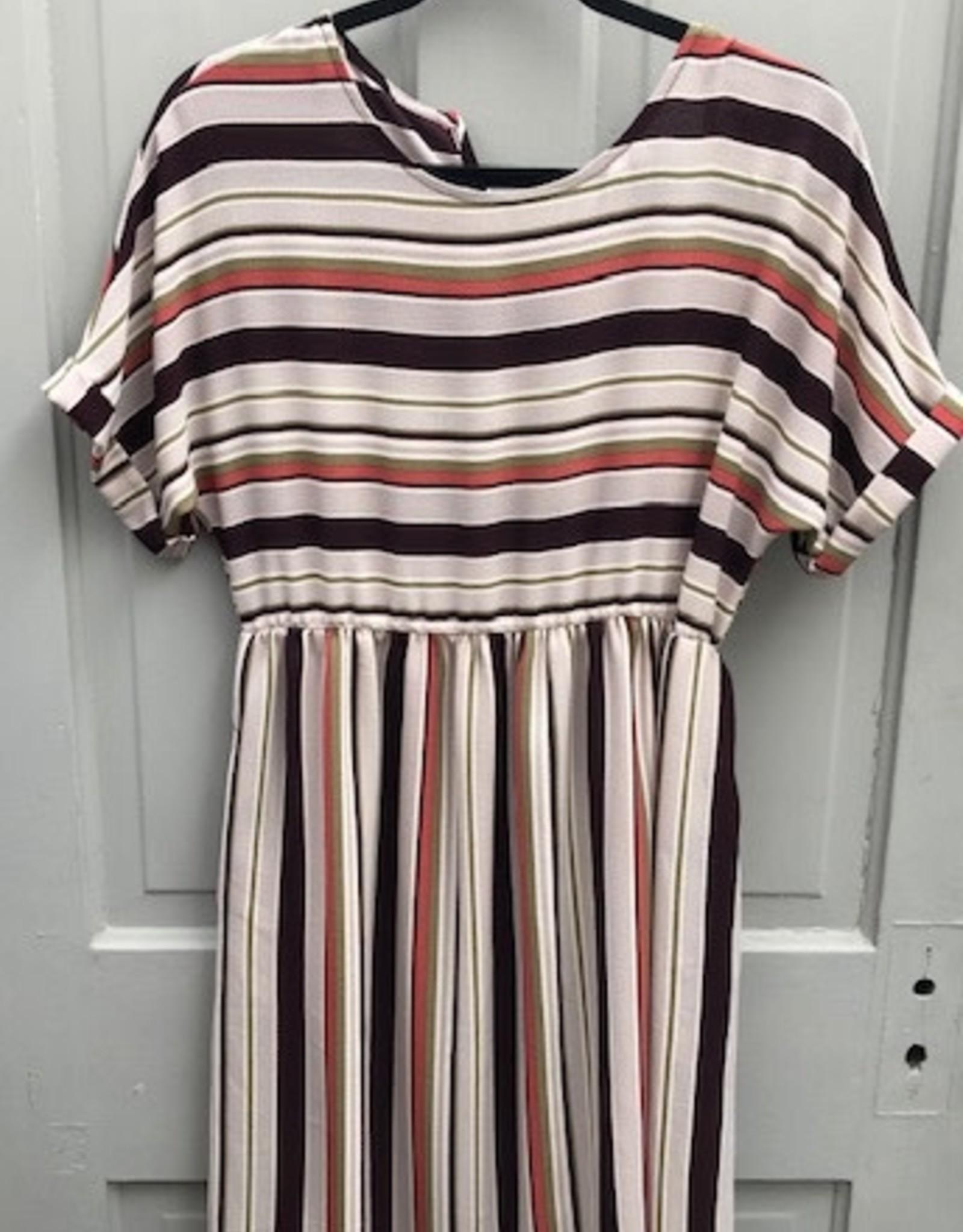 Striped Cuff Sleeve Pocket Dress
